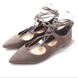 Vince Camuto Emmari Taupe Suede Lace Up Flats 8
